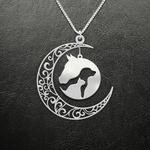 Horse Dog Cat Moon Handmade 925 Sterling Silver Pendant Necklace