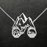Mountain bike into the forest i go Handmade 925 Sterling Silver Pendant Necklace
