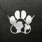 Cat Love Cat Paw Handmade 925 Sterling Silver Pendant Necklace