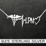 Nurse LPN Heartbeat Handmade 925 Sterling Silver Pendant Necklace