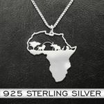 Black africa animals Handmade 925 Sterling Silver Pendant Necklace