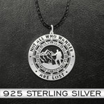 Hiking Not all who wander are lost Handmade 925 Sterling Silver Pendant Necklace