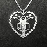 Motocycle Motorcycle Heart Handmade 925 Sterling Silver Pendant Necklace