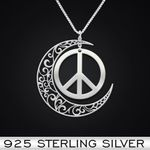 Hippie Moon Peace Handmade 925 Sterling Silver Pendant Necklace