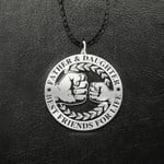 Father & daughter Best friends for life Handmade 925 Sterling Silver Pendant Necklace