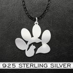 Dog cat paw Pet lovers Handmade 925 Sterling Silver Pendant Necklace
