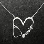Valentine Nurse Heart Girlfriend Gift Handmade 925 Sterling Silver Pendant Necklace