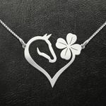 Horse Four Leaves Clover Heart Handmade 925 Sterling Silver Pendant Necklace