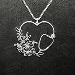 Nurse flower heart Handmade 925 Sterling Silver Pendant Necklace