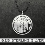 Hiking with dog i hate people Handmade 925 Sterling Silver Pendant Necklace