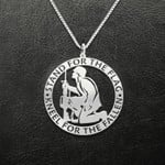 Stand for the flag Kneel for the fallen Handmade 925 Sterling Silver Pendant Necklace
