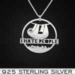 I Hate People Sloth Handmade 925 Sterling Silver Pendant Necklace