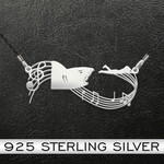 Shark   Shark On Music Sheet   925 Necklace Handmade 925 Sterling Silver Pendant Necklace