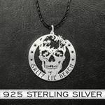 Beach Salty Lil'Beach Skull Handmade 925 Sterling Silver Pendant Necklace
