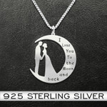 Valentine I Love You To The Moon And Back Couple Handmade 925 Sterling Silver Pendant Necklace