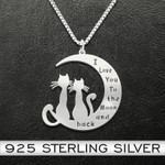 Cat I Love You To The Moon And Back Cat Couple Handmade 925 Sterling Silver Pendant Necklace