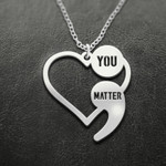 Suicide Prevention Awareness Semicolon You Matter Handmade 925 Sterling Silver Pendant Necklace