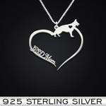 German Shepherd Heart Mom Handmade 925 Sterling Silver Pendant Necklace