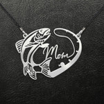 Fishing Fishing Mom Heart Handmade 925 Sterling Silver Pendant Necklace