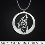 Howling Wolf Handmade 925 Sterling Silver Pendant Necklace