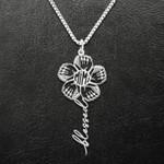 Baseball Blessed Grandma Baseball Glover Flower Handmade 925 Sterling Silver Pendant Necklace