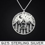 Adventure is out there Handmade 925 Sterling Silver Pendant Necklace