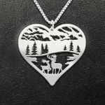 Hunting deer couple heart Handmade 925 Sterling Silver Pendant Necklace