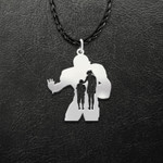 Football Mom And Son Handmade 925 Sterling Silver Pendant Necklace