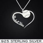 Baseball Heart Mom Handmade 925 Sterling Silver Pendant Necklace