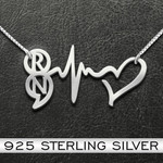 Suicide Prevention Awareness Semicolon Heart Beat Personalized Initials Handmade 925 Sterling Silver Pendant Necklace