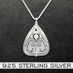 Witch Cat Necklace Handmade 925 Sterling Silver Pendant Necklace