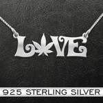 Weed Love Handmade 925 Sterling Silver Pendant Necklace