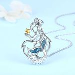 Mermaid With Zircon Gemstone And Gold Plating Star Handmade 925 Sterling Silver Pendant Necklace