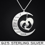 DogI Love You To The Moon And Back Girl And Dog Handmade 925 Sterling Silver Pendant Necklace