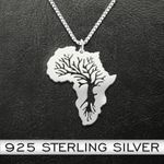 Africa Continental Tree Handmade 925 Sterling Silver Pendant Necklace