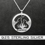 Mama Wolf Handmade 925 Sterling Silver Pendant Necklace
