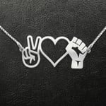 peace love Black Handmade 925 Sterling Silver Pendant Necklace