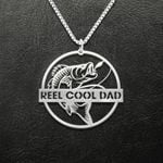 Fishing Reel Cool Dad Fish Handmade 925 Sterling Silver Pendant Necklace