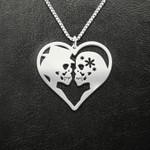 Skull couple heart Handmade 925 Sterling Silver Pendant Necklace