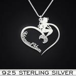 Mermaid Heart Mom Handmade 925 Sterling Silver Pendant Necklace
