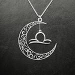 Zodiac Libra Moon Phase Handmade 925 Sterling Silver Pendant Necklace