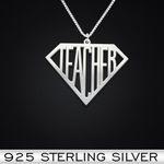 Super Teacher Handmade 925 Sterling Silver Pendant Necklace