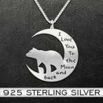 Bear Mother And Son/Daughter Necklace Handmade 925 Sterling Silver Pendant Necklace