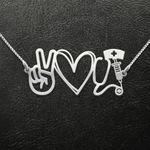 Nurse Peace Love Nurse Handmade 925 Sterling Silver Pendant Necklace