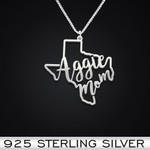 Texas A&M Aggie Mom Handmade 925 Sterling Silver Pendant Necklace