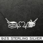 Reading Book And Coffee Heartbeat Handmade 925 Sterling Silver Pendant Necklace