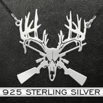 Hunting | Deer Skull Gun Rifle | 925 Necklace Handmade 925 Sterling Silver Pendant Necklace