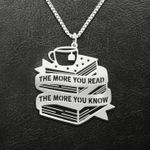 Reading The More You Read The More You Know Handmade 925 Sterling Silver Pendant Necklace