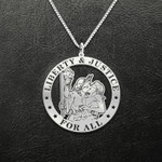 Liberty & Justice for all Handmade 925 Sterling Silver Pendant Necklace