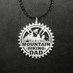 Mountain Biking Dad Cycling Handmade 925 Sterling Silver Pendant Necklace